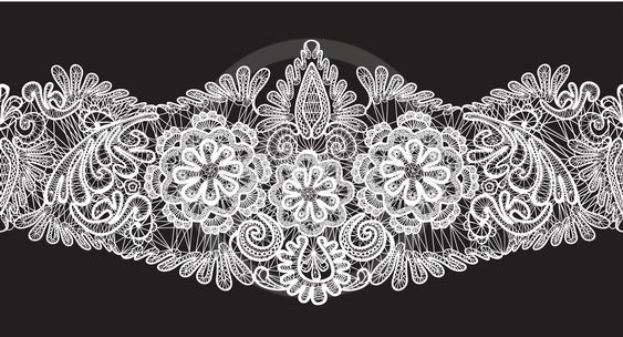 Seamless stripe - floral lace ornament - white on black...