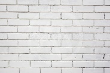 White painted brick wall background close up.