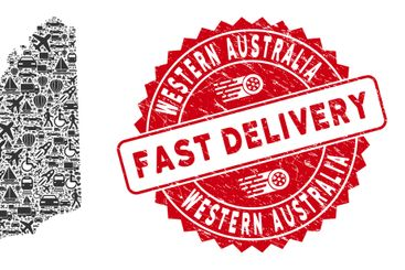 Delivery Mosaic Western Australia Map with Textured Fast...
