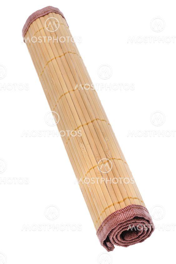 bamboo mat on white macro