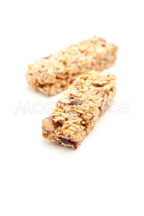 Two Granola Bars Isolated on White