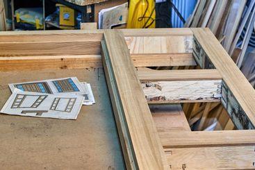 Joinery. Wood door manufacturing process. Door frame....