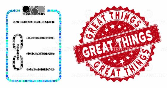 Mosaic Blockchain Contract with Grunge Great Things Stamp
