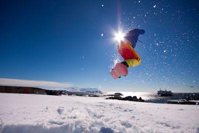 snowboarding in Antartica
