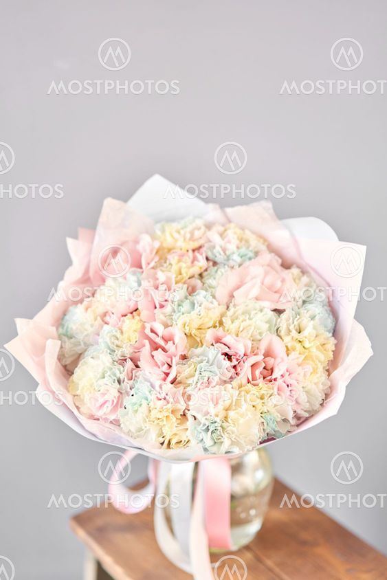 Bunches of rainbow carnation flowers different varieties...