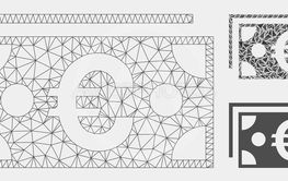 Euro Banknotes Vector Mesh Wire Frame Model and Triangle...