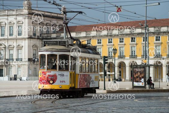 view of the famous vintage tramway parked in the street...