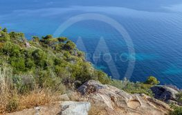 Landscape with shore of the Aegean Sea, Chalkidiki, Greece