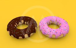 Delicious donuts on a yellow background. 3d render...