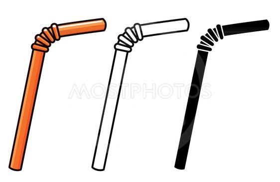 Vector straws on white background