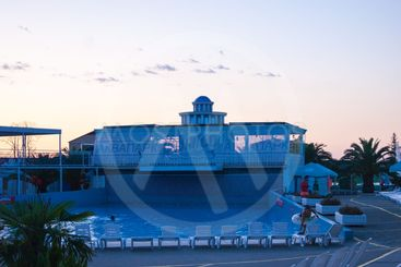Sunset in the water park Akvaloo - Russia, Loo Sochi,...