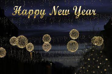 Gott nytt år Happy new year  Ljusbollar - Silvertid
