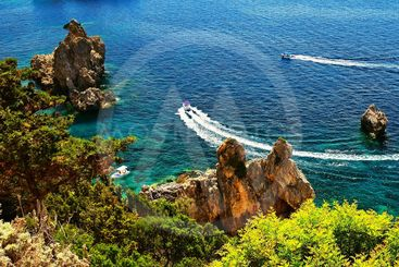 Beautiful beach and boats. Clean sea with a bay. Concept...