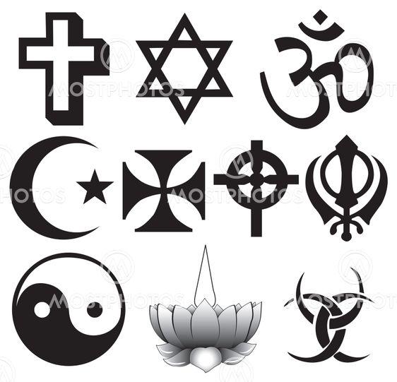 Different religions symbols
