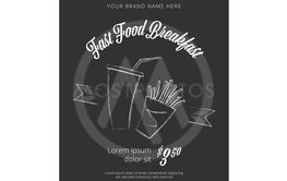 Fast Food vintage vector banner on the chalkboard - Vector