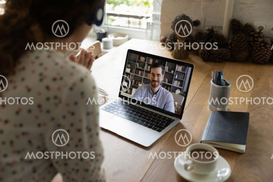 Woman have webcam digital meeting with colleague