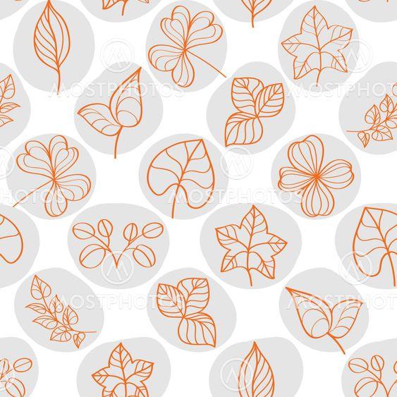 Seamless pattern on leaves theme, Autumn seamless pattern...