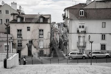 Street in Lisabon in black and white. In the city centre....