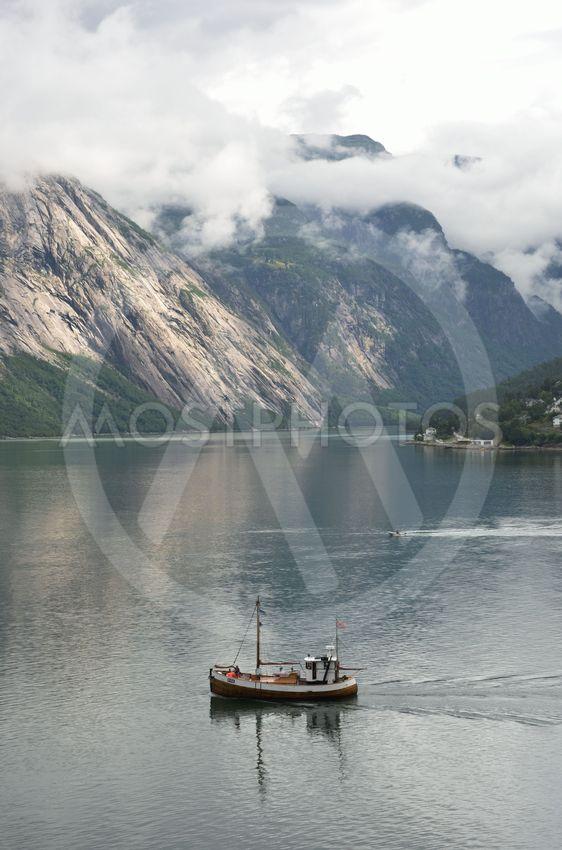 Small Fishing boat in Norwegian Fjord