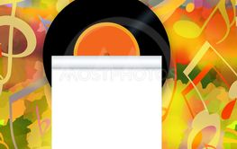 Music background with vinyl record and scroll