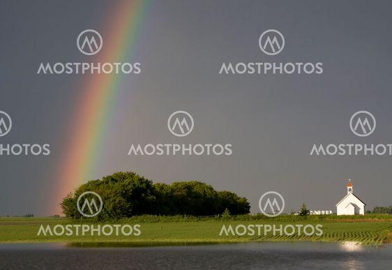 Country Church and Rainbow