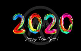 Colorful 3d text 2020. Congratulations on the new year 2020