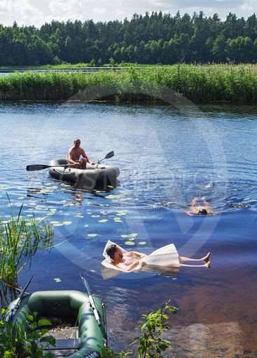 Travel on the forest river - bathing.