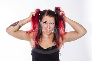 Punk girl with red hair