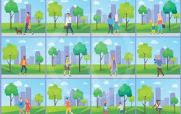 Man and Woman in Park, Leisure in City Vector