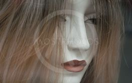 woman face of mannequin with wig in fashion...