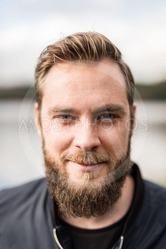 Portrait of a bearded man outdoors
