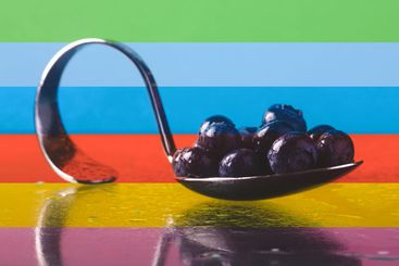 blueberries on colorful background