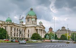 Square with National Assembly, Belgrade, Serbia