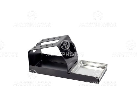 Metal stand for soldering iron electronic tool.
