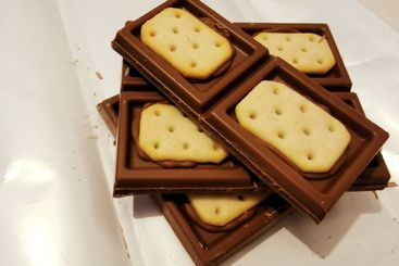 Pieces of brown chocolate with salty crackers