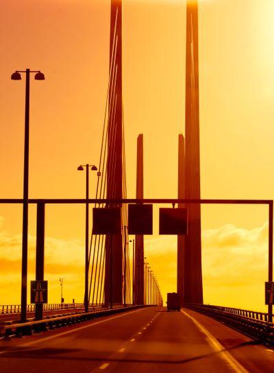 Light show on bridge