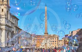 Soap bubbles at Piazza Navona in Rome, Italy