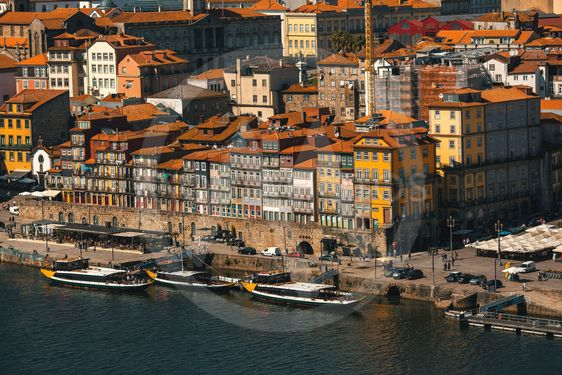 Ribeira at Duoro river in old downtown Porto, Portugal.