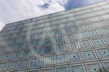 Facade of Arab World Institute (Institut du Monde Arabe)...
