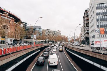 Cars leave the tunnel on the street in Barcelona.