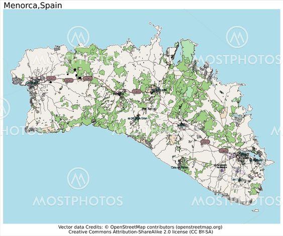 Menorca Spain Map Aerial View Fra Jrtburr Mostphotos