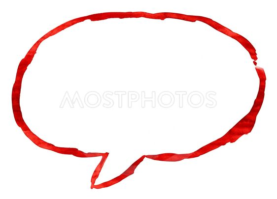 Red ellipse speech bubble icon with watercolor paint...