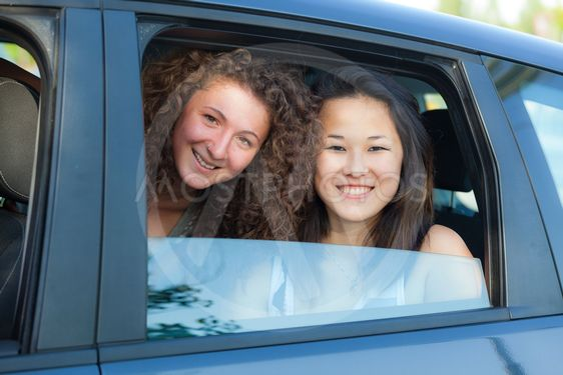 Two Happy Women in the Car
