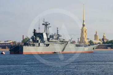 "The large landing ship ""Minsk"" on the Neva River"