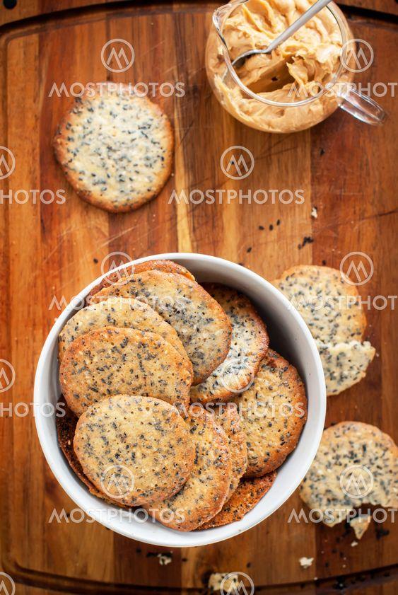 Cookies with Black Sesame Seeds, top view