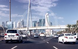 DUBAI - OCTOBER 22, 2015: City traffic on a beautiful...