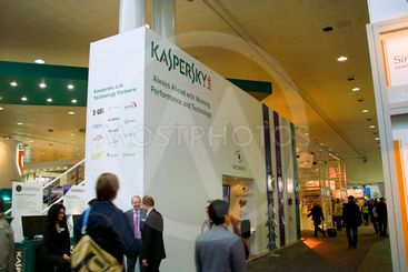 HANNOVER, GERMANY - MARCH 5, 2011: stand of the Kaspersky...