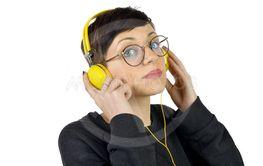 Girl with yellow headphones
