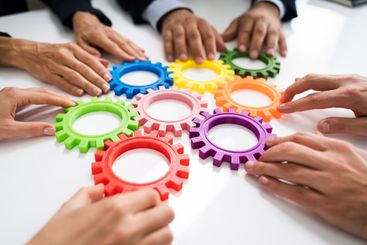 Innovative Businesspeople Team Hands Joining Gears