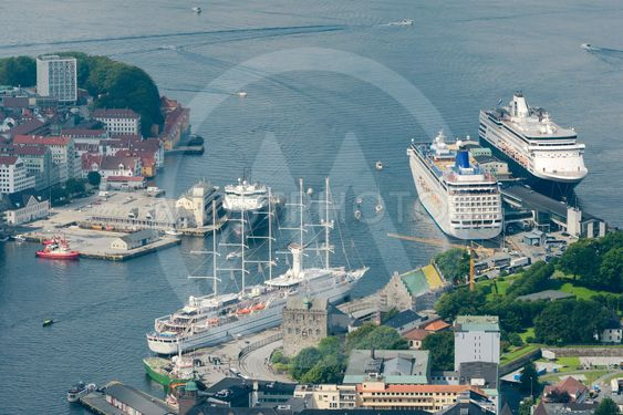 Aerial view of Bergen port with cruise ships docked, Norway